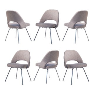 Saarinen Executive Armless Chairs in Gray Weave by Eero Saarinen for Knoll - Set of 6 For Sale