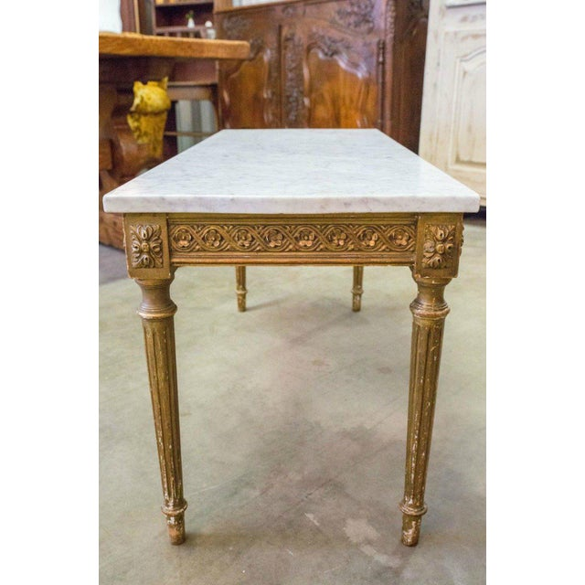 White French Louis XVI Style Gilded Coffee Table With Marble Top For Sale - Image 8 of 10