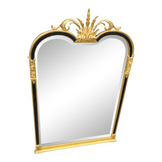 Carvers Guild Regency Torchiere Antique Gold and Black Mirror With Bevel For Sale