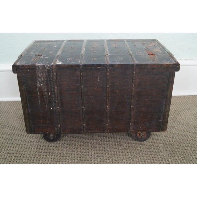 Antique Moroccan Iron & Brass Bound Lidded Chest - Image 10 of 10