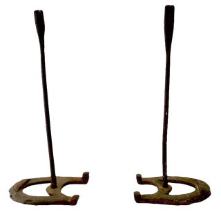 Vintage Rustic Horseshoe Wrought Iron Candlesticks - a Pair For Sale