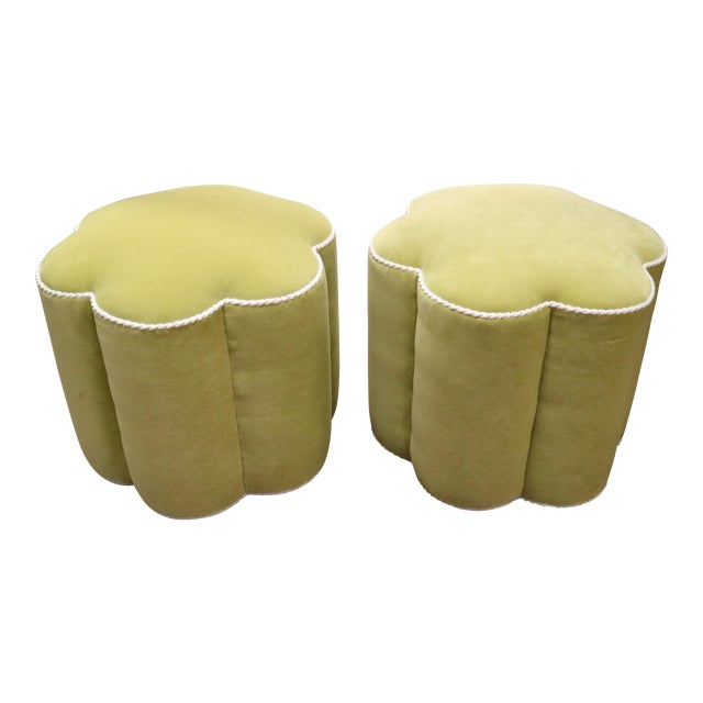 Chartreuse Custom Ottoman's, a Pair - Image 1 of 9