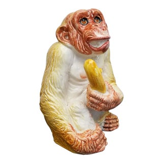 1960s Italian Ceramic Monkey With Banana Sculpture For Sale