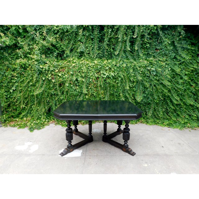 This table is made of solid mahogany with a walnut stain. It has 2 leaves. Can seat 4 to 8 people. In keeping with it's...