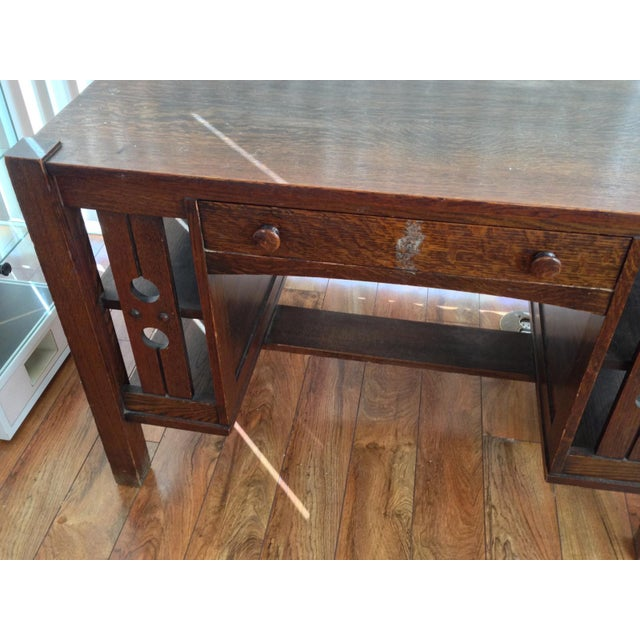 Antique Mission Oak Arts And Crafts Library Desk With Shelves - Antique Mission Oak Desk Library Table - Desk Ideas