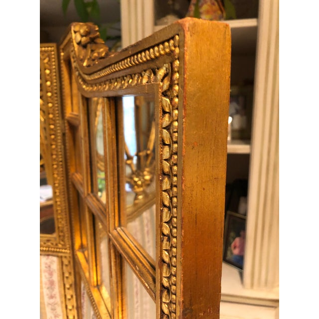 French Neoclassical Revival Giltwood Mirror and Upholstered 3-Panel Screen For Sale - Image 10 of 13