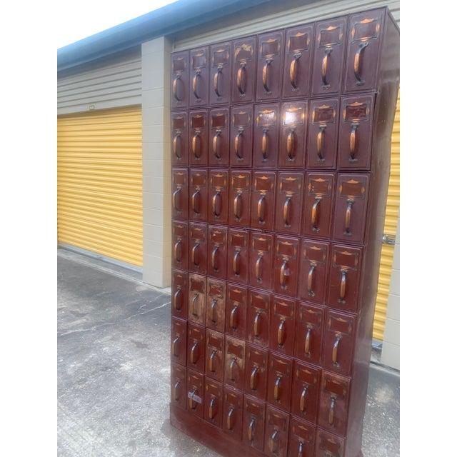 Burgundy Vintage Industrial File Cabinet For Sale - Image 8 of 13