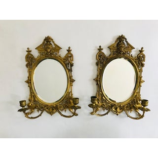 Pair of 19th C. Gilded Brass Mirror Sconces