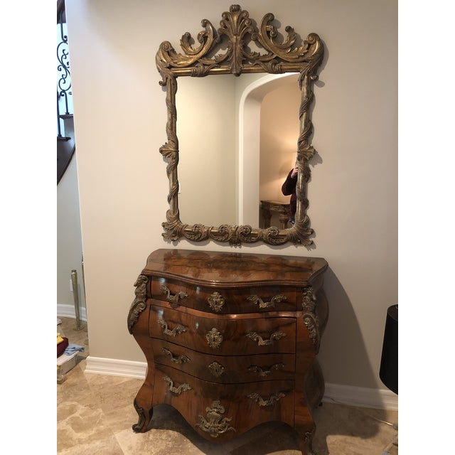 Antique Burl Wood Bombay Chest With John Richard Mirror For Sale - Image 11 of 11