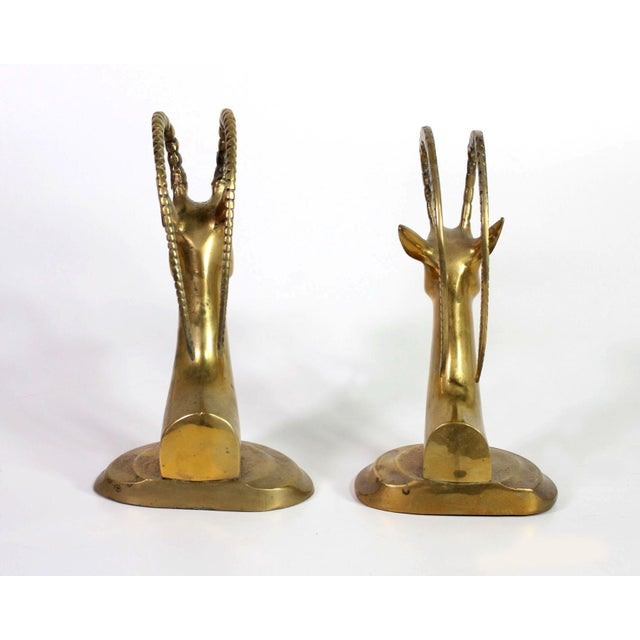 1960's Solid Brass Ibex Gazelle Him & Her Bookends - a Pair For Sale - Image 4 of 7