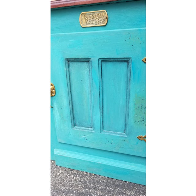1990s French Country White Clad Turquoise Nightstands - a Pair For Sale - Image 10 of 12