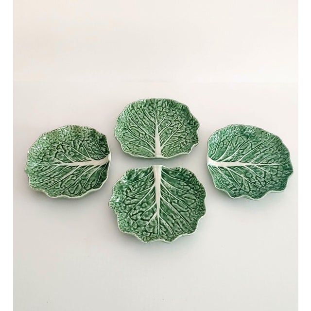 Bordallo Pinheiro Bordello Pinheiro Green Cabbage Salad Plates - Set of 4 For Sale - Image 4 of 5