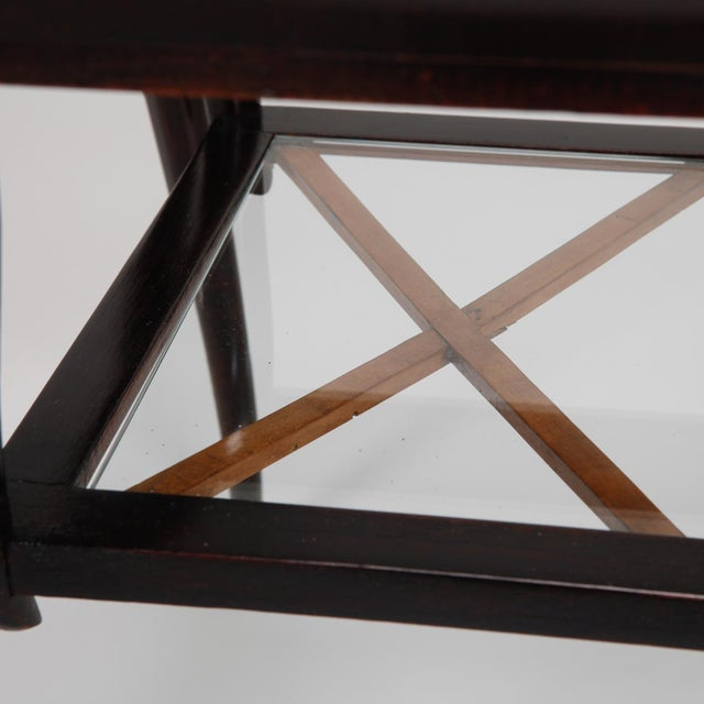 Antique Art Deco Tiered Walnut Glass Side Table - Image 9 of 11