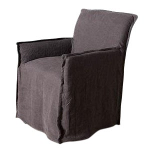 """Juliet"" Stonewash Belize Café Noir Linen Dining Chair For Sale"