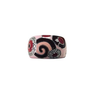 Roberto Coin 18k White Gold Diamond and Enamel Ring For Sale
