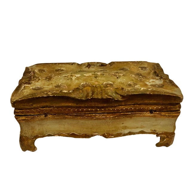 Wood Antique Gold Turn of the Century Florentine Box For Sale - Image 7 of 9