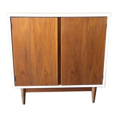 Mid Century Refinished Walnut Lacquered Bar Record Cabinet - Image 1 of 6
