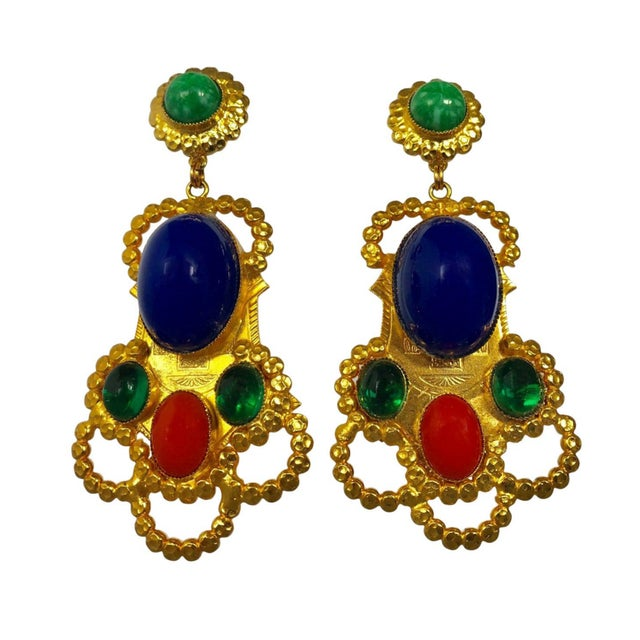 Glass Gold Egyptian Revival Ornate Statement Earrings For Sale - Image 7 of 7
