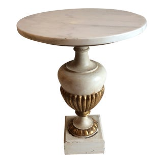 Italian Marble and Gilded Wood Side Table For Sale