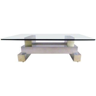 Vintage Modern Aluminium and Brass Coffee Table in the Manner of Paul Evans For Sale