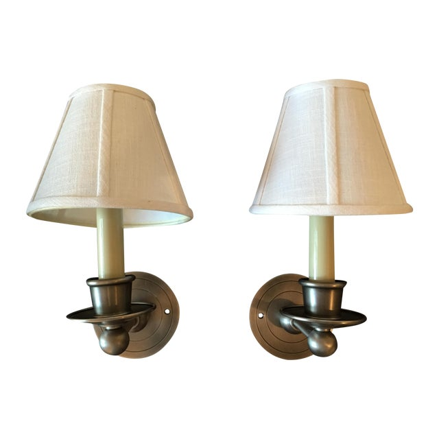 Shaded Nickel Sconces - A Pair For Sale