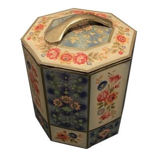 Vintage Octagonal Floral Tin For Sale