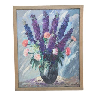 MidCentury Framed Oil Painting of a Still Life of Flowers in a Vase For Sale