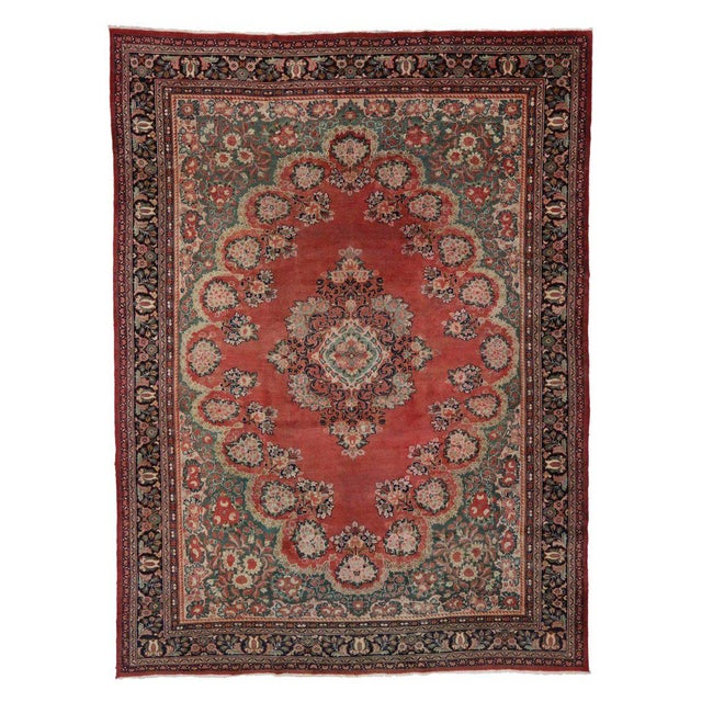 Antique Persian Mahal Rug with Traditional Style For Sale In Dallas - Image 6 of 8