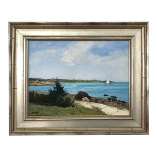 """Passing Mishaum Point"" Contemporary Nautical Seascape Oil Painting by Frank McCoy, Framed For Sale"