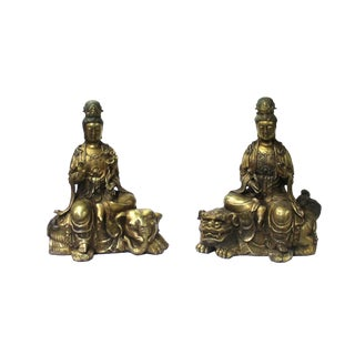 Pair of Rustic Golden Color Metal Chinese Kwan Yin Riding Lion & Elephant Statues For Sale