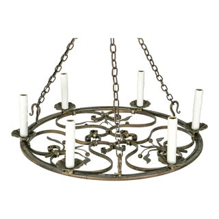 Hand Wrought Flat Leaf and Scroll Chandelier For Sale