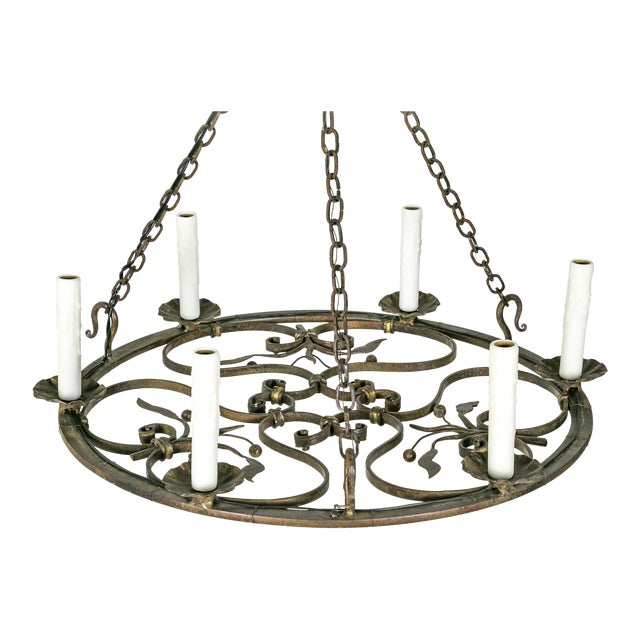 Hand Wrought Flat Leaf and Scroll Chandelier - Image 1 of 9