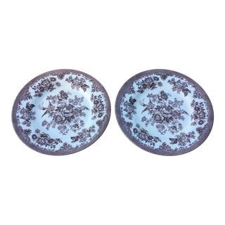 Brown & White Royal Stafford Earthenware Plates - a Pair For Sale