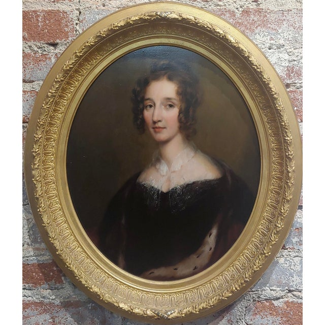 George Healy - Portrait of a Beautiful Aristocratic Lady-19th century Oil painting oil painting on board circa 1860s frame...