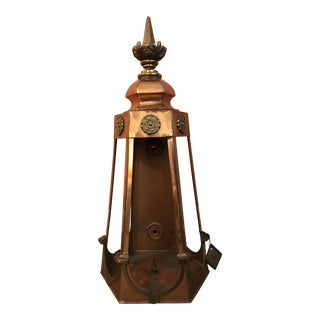 1950s Six Sided Copper Wall Mount Lantern For Sale