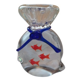 1970s Hand Blown Glass Bag With Three Goldfish For Sale