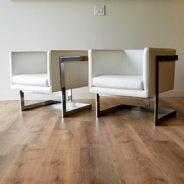 """1970s Milo Baughman Style """"T Back"""" Lounge Chairs in White Calf Leather - a Pair For Sale - Image 13 of 13"""