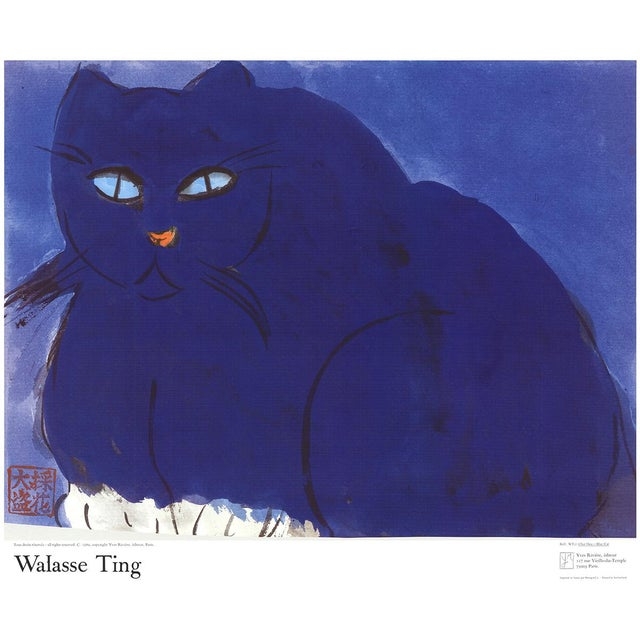 """1960s """"Blue Cat"""" Walasse Ting Lithograph For Sale - Image 5 of 5"""