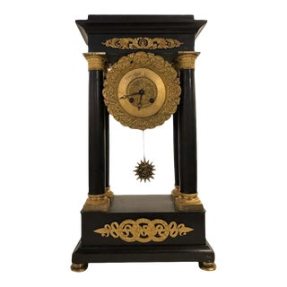 Empire Marble and Bronze Mantel Clock, Working For Sale