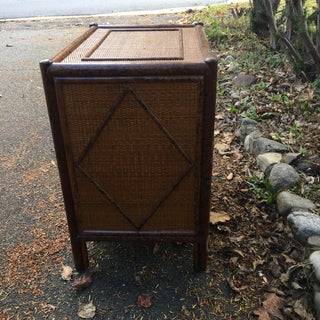 Vintage British Colonial Burnt Bamboo Nightstand Preview