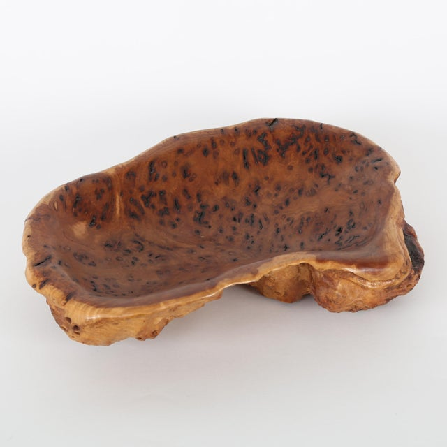 Shapely and textured Grey Box burl wood bowl from New South Wales, Australia. The wood has a soft and warm tone with...
