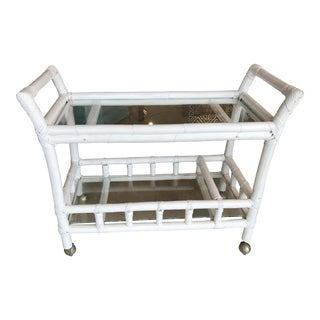 White Bamboo Bar Cart For Sale