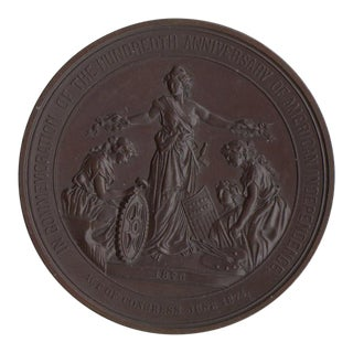100 Years of American Independence Antique Bronze Sculptural Medallion For Sale