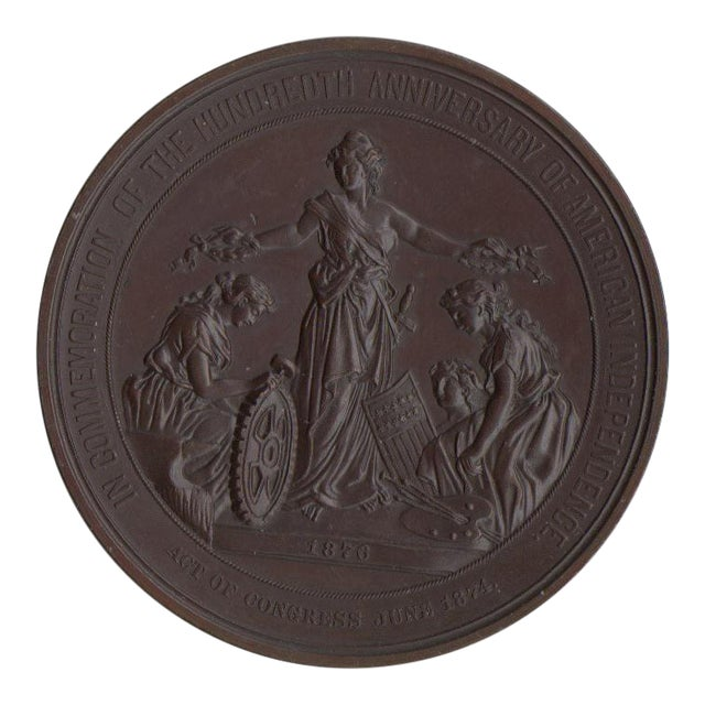 100 Years of American Independence Antique Bronze Sculptural Medallion - Image 1 of 3