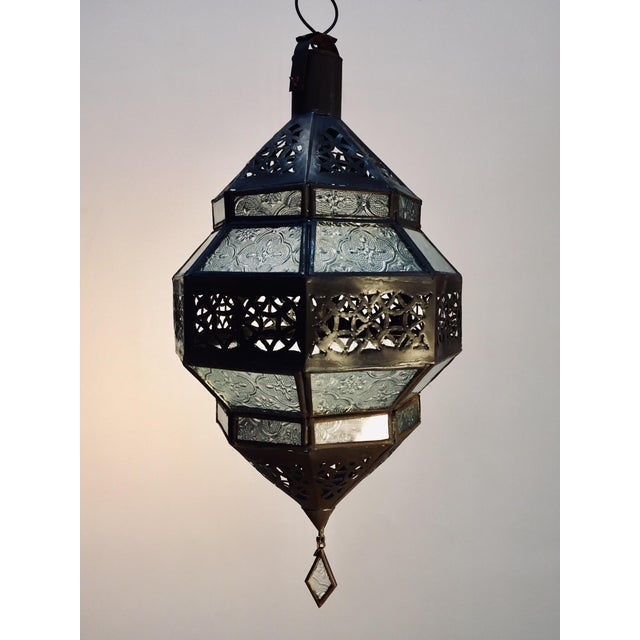 Handcrafted Moroccan Metal and Clear Glass Lantern, Octagonal Shape For Sale - Image 12 of 12
