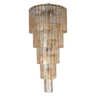 Italian Murano Glass Planks Chandelier by Mazzega For Sale