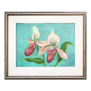 Original Pastel of Orchids by Cunha C.1990 For Sale
