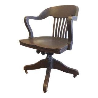 1920s Marble & Shattuck Rolling Wood Banker's Chair