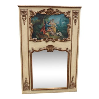 C.19 French Louis XVI Painted & Gilt Trumeau Wall Mirror With Oil Painting For Sale
