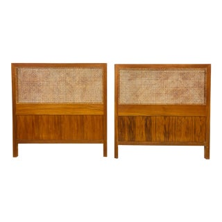 Pair Vintage Mid Century Modern Cane Headboards For Sale